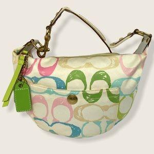 Coach Hobo Pastel Signature Handbag Scribble Print